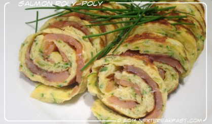 omlette & salmon roly poly