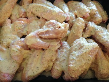 Wings covered in marinade