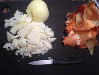 Chopped onion and its amazing skin