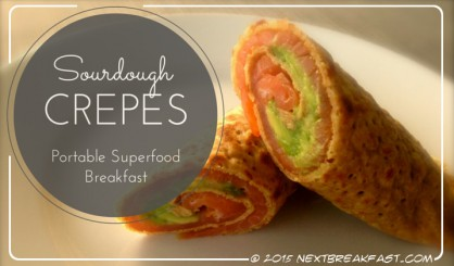 Salmon and avocado sourdough crepes